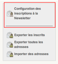 Configuration des inscriptions à la Newsletter